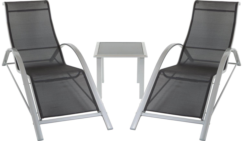 Sonnenliegen Set 'Bonaire' mit 2 Liegen + 1 Tisch (Glas) aus Aluminium und robustem Stoff