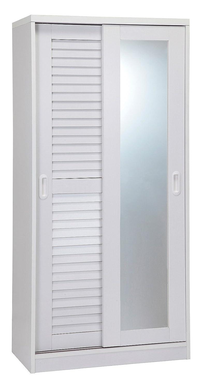 【最大36足収納できる】 大容量 ルーバー シューズボックス 姿見ミラー付き (ホワイト) B07CTDGNJL ホワイト ホワイト