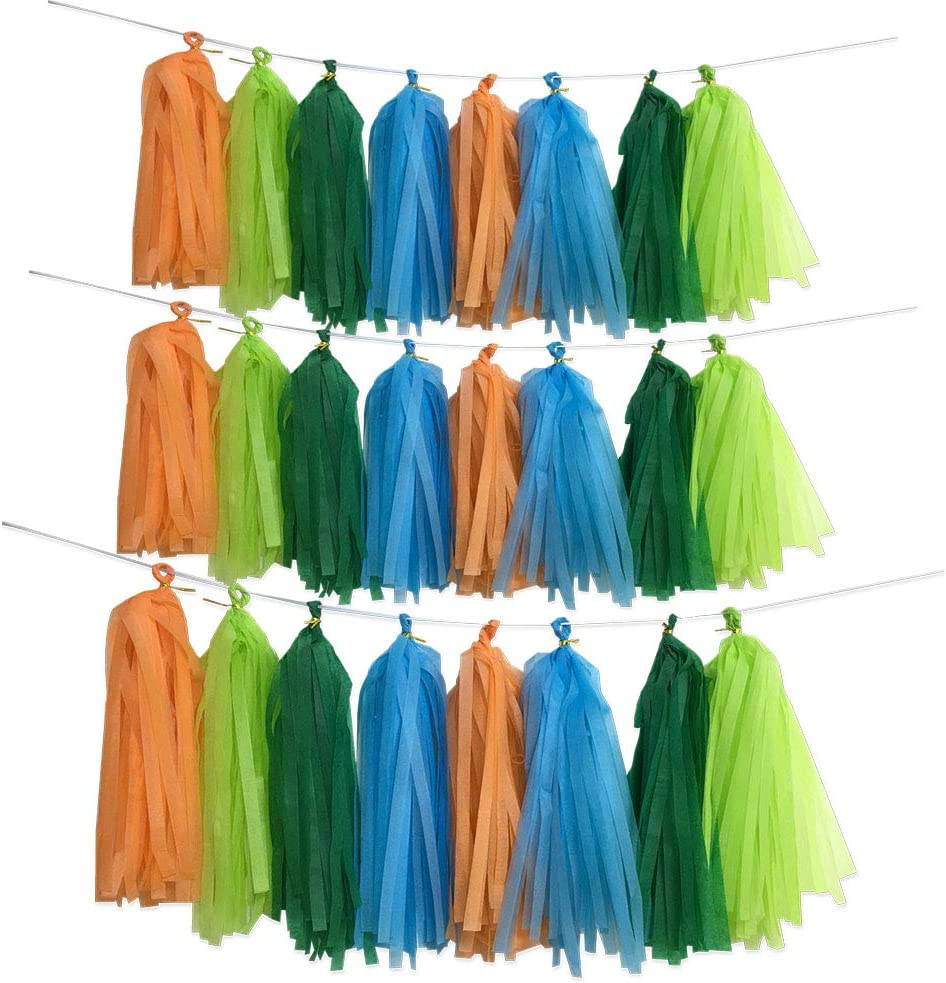 Dinosaur Theme Party Backdrop, 40pcs Jungle Theme Dark Light Green Blue Orange Tassel Banner Garland Tissue Photo Background for Birthday Wedding Bachelorette Baby Shower Party Supplies