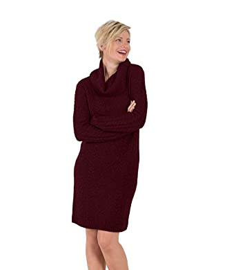 75c8925dbb7 Wool Overs Robe-Pull à col Boule - Femme - Cachemire   Mérinos Plum ...