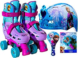 Disney Frozen Kids Roller Skates Adjustable Quad Skates Size 1-4, Disney Frozen Holiday Gift Set Includes Disney Frozen Youth Child Hardshell Multi Sport 3d Safety Helmet Cooling Vents Removable Tiara Blue Youth Child 5-8, Whistle and Paddle Ball