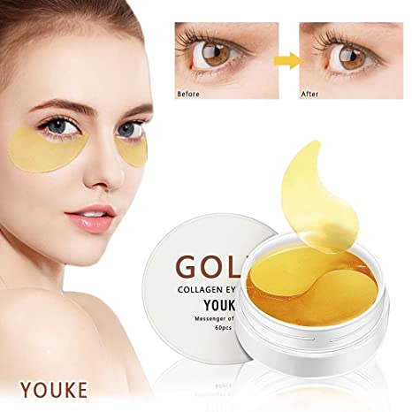 Máscara de ojos de colágeno de oro 60PCS para ojos hinchados, corrector de círculos oscuros