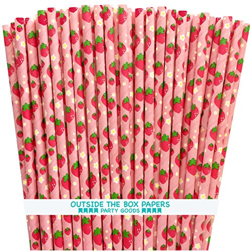 Strawberry Pattern Paper Straws - Pink Red Green - 7.75 Inches - 75 Pack (Strawberry Shortcake Birthday Banner)