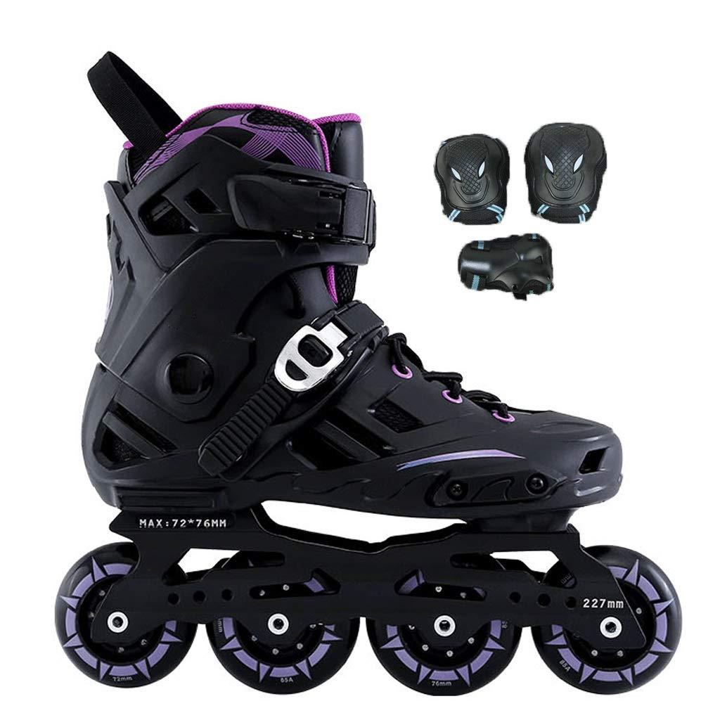 YANGXIAOYU ローラースケート、ローラースケートの女の子ローラースケートのスーツ紫黒白大人10代の若者に適してフルフラッシュホイール B07QV7S4QZ 42|紫の 紫の 42