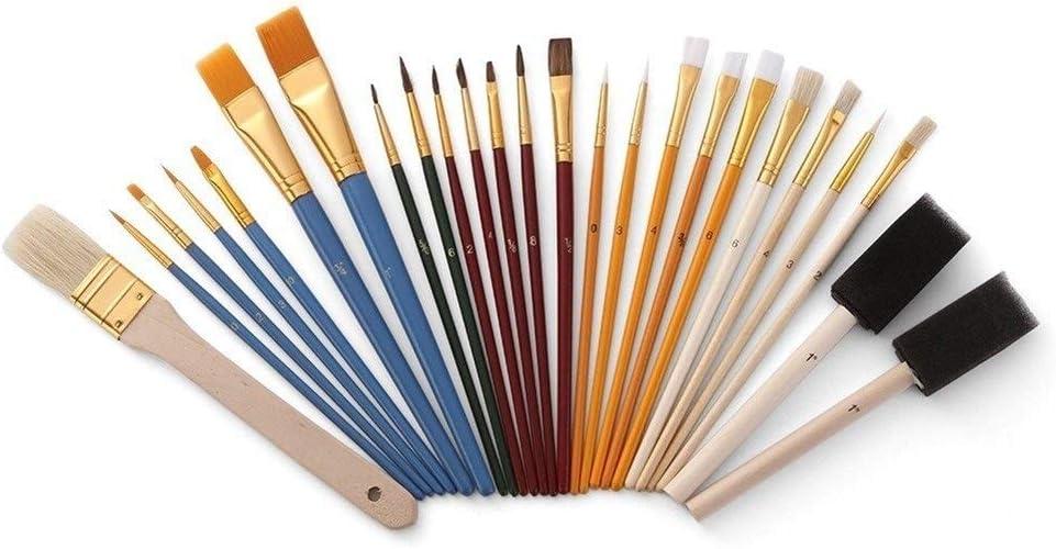 25pcs De La Pintura del Cepillo del Sistema Pinceles Starter Kit Incluye Taklon/Cerda/Caballo Cepillos Cepillos Y Esponja Pintando encierra el Uso de Pintura de Varios Colo (Color : Multicolor)
