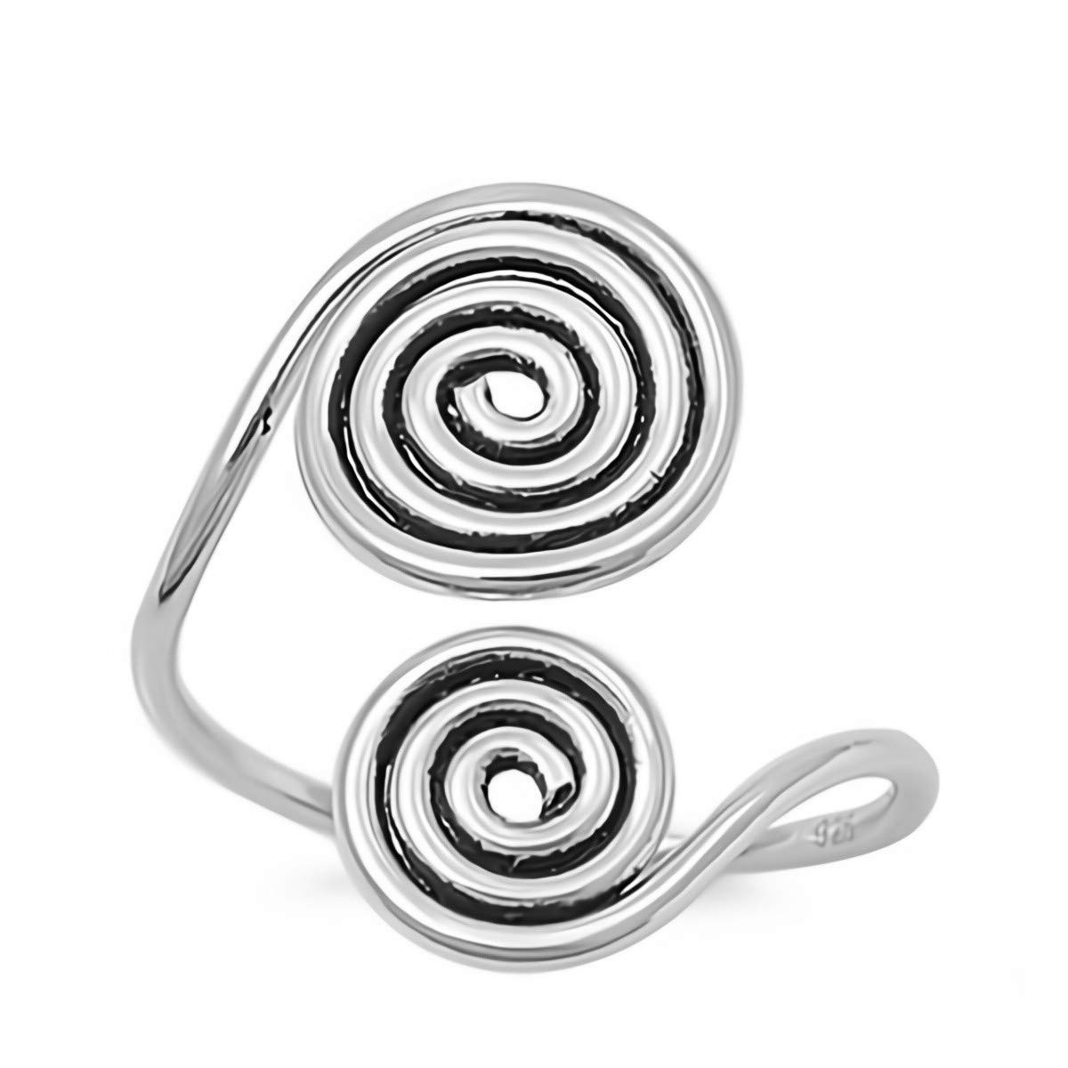 Cute Jewelry Gift for Women in Gift Box Glitzs Jewels 925 Sterling Silver Ring Spirals