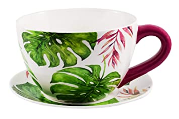 Ivyline Green Botanical Extra Large Teacup And Saucer Planter Plant