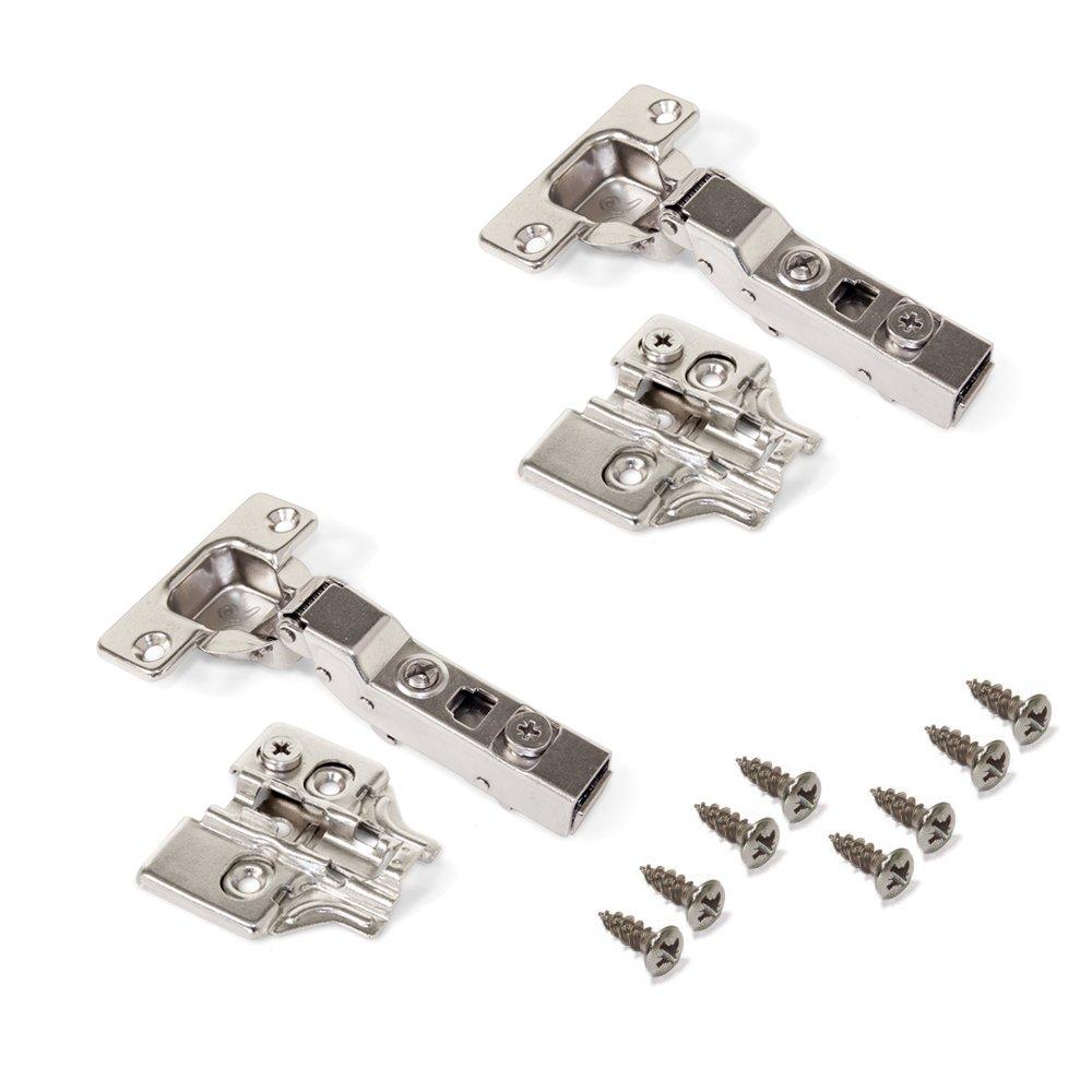 Emuca 1011507 Lot de 20 charni/ères /à visser /Ø35mm 100/° fermeture douce montage rentrant et embases /à visser avec r/églage excentrique