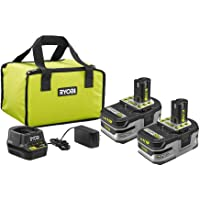 Ryobi P166 18V ONE+ LITHIUM+ HP 3.0Ah Battery (2-Pack) Starter Kit w/Charger & Bag