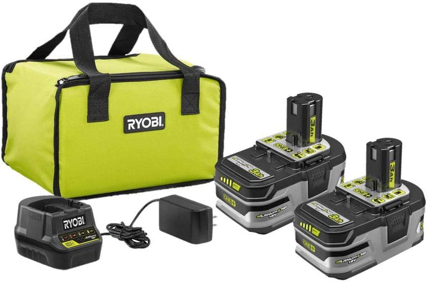 Ryobi 18V ONE+ Lithium+ HP 3.0 Ah Battery 2-Pack Starter Kit with Charger and Bag P166