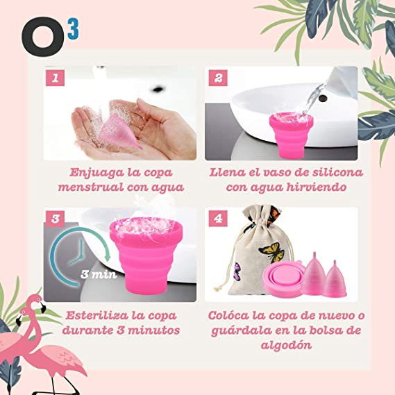 O³ Copa Menstrual Ecológica 2 Unidades - S & L - Con Esterilizador Copa Menstrual - Entrega RÁPIDA desde España - Copas Menstruales Con Bolsa de ...