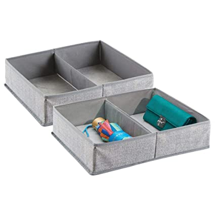 Gris mDesign Juego de 2 organizadores de armarios y cajones con 4 compartimentos Vers/átiles organizadores de tela Las cajas de almacenaje perfectas para ropa interior y otros accesorios