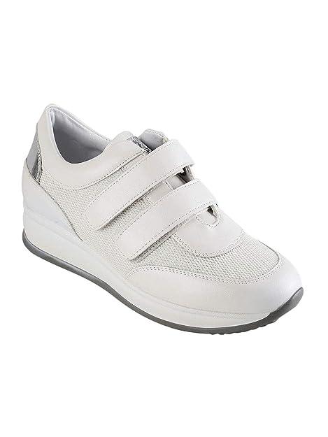QUEEN HELENA Sneakers con Strappi e Zeppa Donna Ecopelle  Amazon.it  Scarpe  e borse ab7fa5df992
