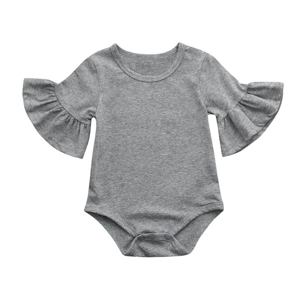 0f0eac9ed33d Dinlong Newborn Infant Baby Girls Ruffle Sleeve Solid Candy Romper Tops  Cute Casual Playsuit Clothes Outfits