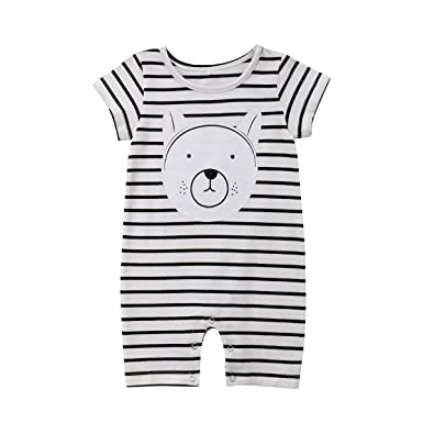 7434b0ca4b87 Amazon.com  Lamuusaa Newborn Infant Toddler Baby Girl Boy Striped Romper  Bear Short Sleeve Bodysuit Jumpsuit Sunsuit Summer Outfit  Clothing
