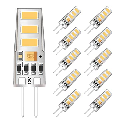 12V Bi-Pin G4 Base Clear Halogen Bulb Lamp LED Light Warm White 2900K 10 Pack 9