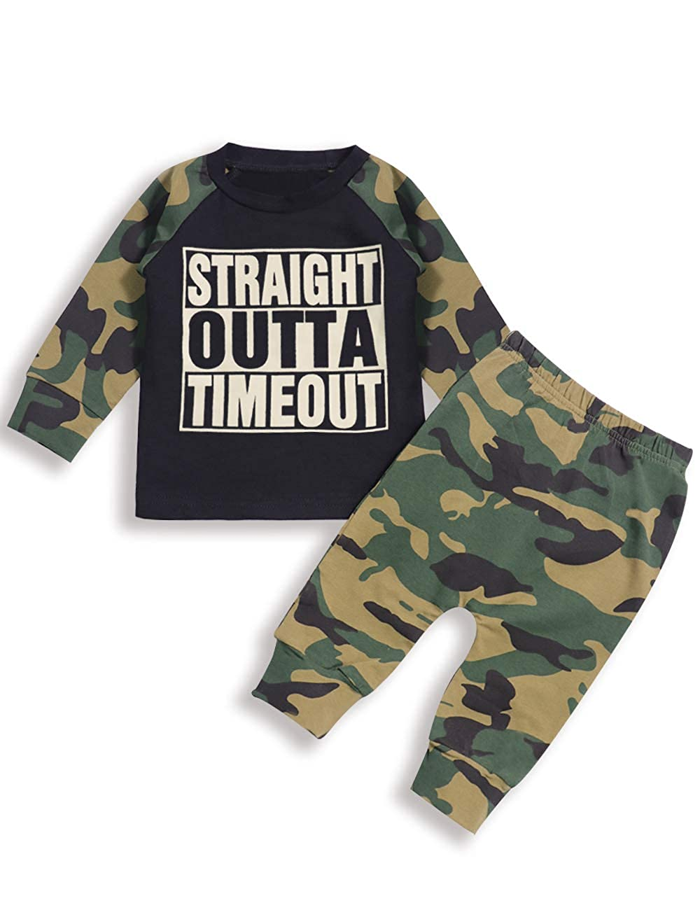 Infant Baby Boy Clothes Long Sleeve Funny Letter Sweatshirt Top + Camouflage Pants Outfit Set itkidboy
