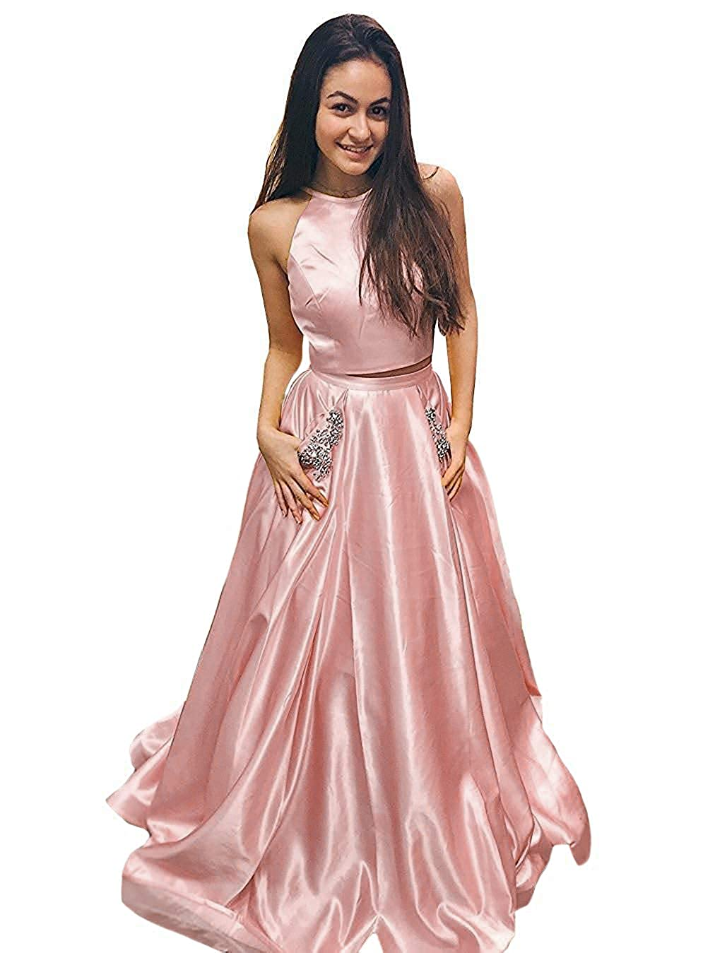 bluesh Pink FTBY Two Piece Prom Dresses with Pockets 2019 Beaded Long Satin Open Back Evening Dress Womens Formal Gowns