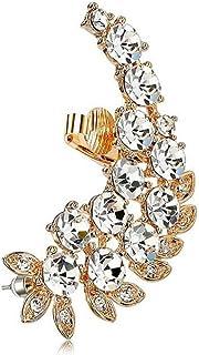 BOBIJOO Jewelry - Boucle d'Oreille Femme Couvrante Strass Brillants Soirée Doré Fleurs Tendance