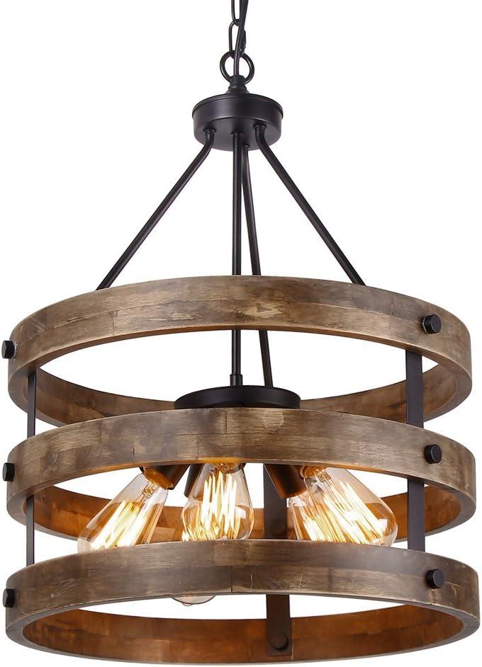Anmytek C0014 Metal and Circular Wood Chandelier Pendant Five Oil Brown Finishing Retro Vintage Industrial Rustic Ceiling Lamp Light