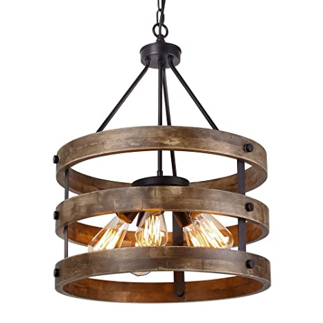 wood chandelier lighting. Wonderful Wood Anmytek Metal And Circular Wood Chandelier Pendant Five Lights Oil Black  Finishing Retro Vintage Industrial Rustic Inside Lighting E