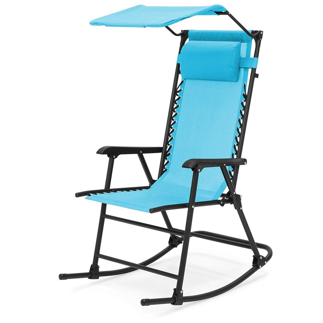 Portable Folding Rocking Chair Comfortable Headrest w/Sunshade Canopy Solid Powder-Coated Finish Steel frame Porch Rocker Zero Gravity Seats Outdoor Patio Furniture - Light Blue #1924