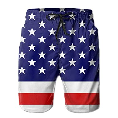 f0c072f2e4 Ding USA Flag Men's Quick Dry Beach Shorts Swim Trunks Board Shorts with  Pocket at Amazon Men's Clothing store: