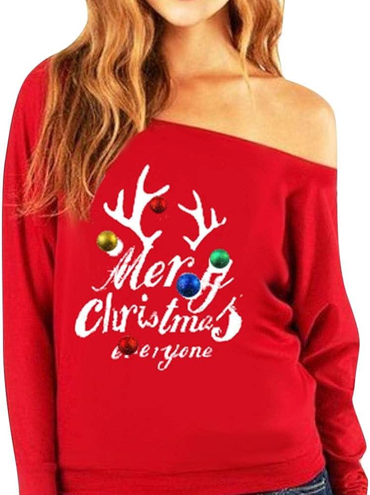 Navidad de BaZhaHei, Sudadera sin Tirantes de Manga Larga para Mujer navideña con Estampado Jersey y Blusa de Mujer del Suéter de Hombro Estampado impresión Digital de Letras Moda Camisetas de Mujer