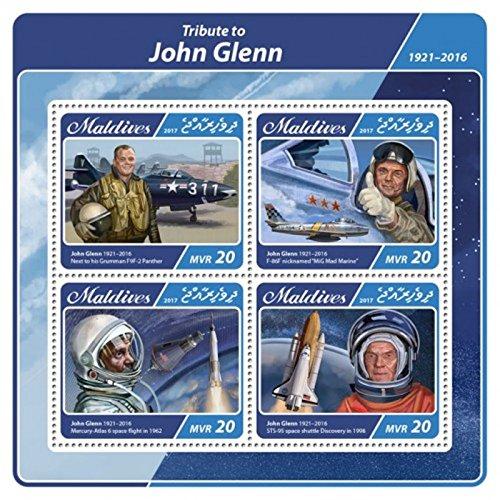 Maldives - 2017 Astronaut John Glenn - 4 Stamp Sheet - -