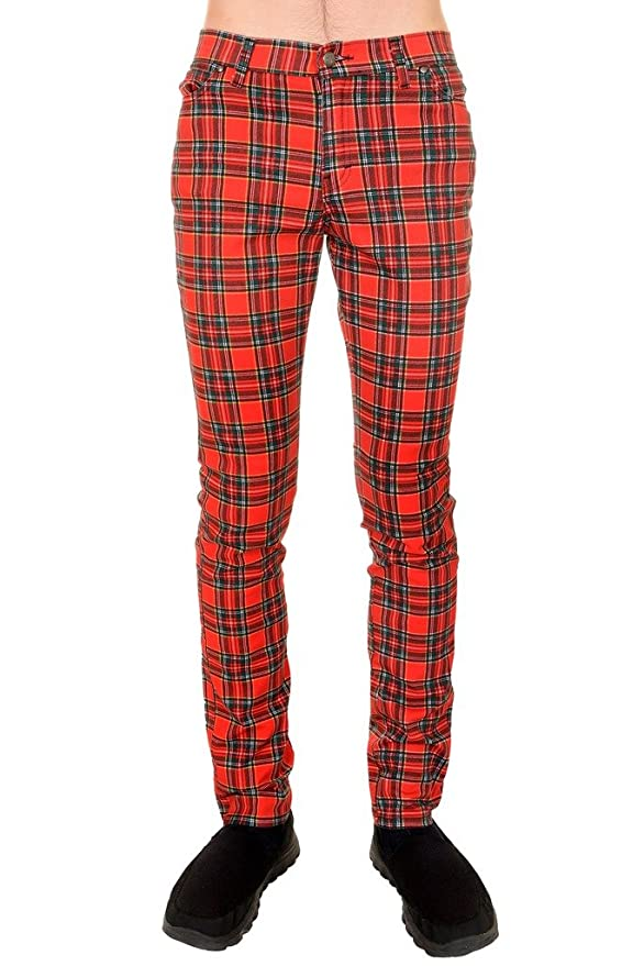 Men's Vintage Pants, Trousers, Jeans, Overalls Retro 60s 80s Mod Punk Red Tartan Skinny Jeans $44.95 AT vintagedancer.com