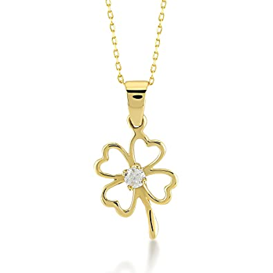 bb96e3fe5 Gelin 14k Real Gold Cubic Zirconia Good Luck Four Leaf Heart Simple Clover Chain  Necklace -