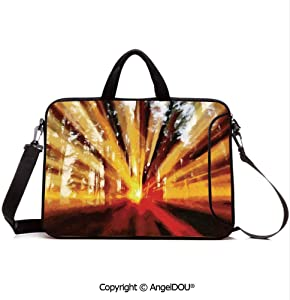 AngelDOU Laptop Shoulder Bag Waterproof Neoprene Computer Case Photo of Magical Sunbeams Lighting Through Trees at Sunset in The Forest Nature with Handle Adjustable Shoulder Strap and External Sid