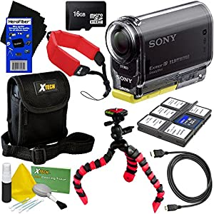 Sony HDR-AS20 Action Video Camera with Built-in Wi-Fi, NFC and Full HD 1080p Video (International Version) + 8pc Bundle 16GB Accessory Kit w/ HeroFiber Ultra Gentle Cleaning Cloth