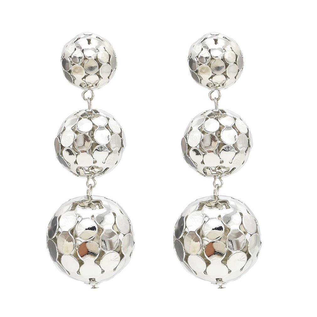 Jinxian Gold Plated Ball Drop Earrings Fashion Shiny Studs Dangling