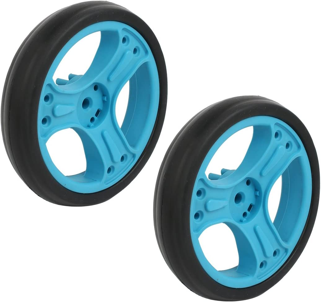 uxcell 2pcs 150mm Dia Plastic Single Wheel Pulley Rolling Roller Blue 8mmx25mm