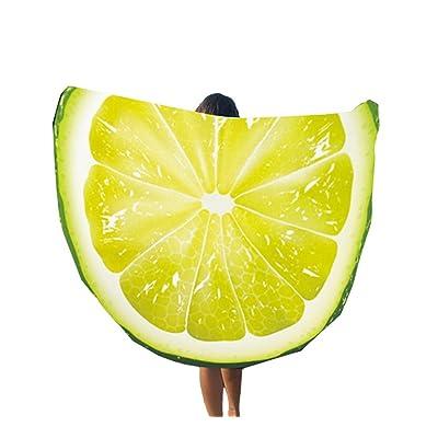 Bigood Tapisserie Plage Souple Imprimé Serviette Rond Camping Polyester Couverture Yoga Lemon