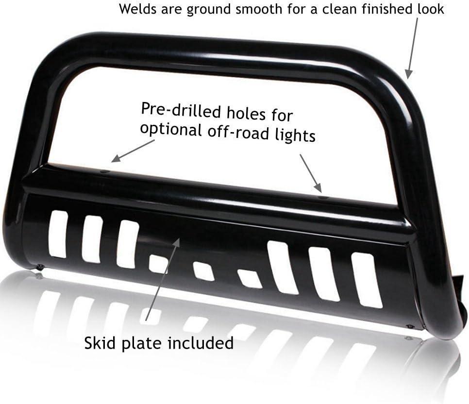 FITDRV Black Bull Bar for Front w//Skid Plate for 2007-2013 GMC Sierra//Chevy Silverado 1500 LD