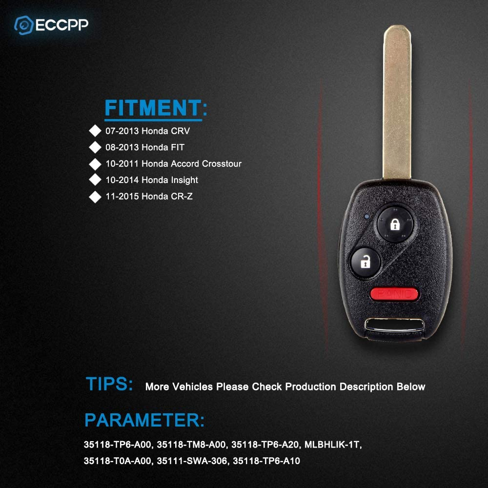 ECCPP Replacement for 1X 3 Button 313.8MHz Replacement Uncut Keyless Entry Remote Head Ignition Car Key Fob for Honda Series 35118-TP6-A00 46 Chip