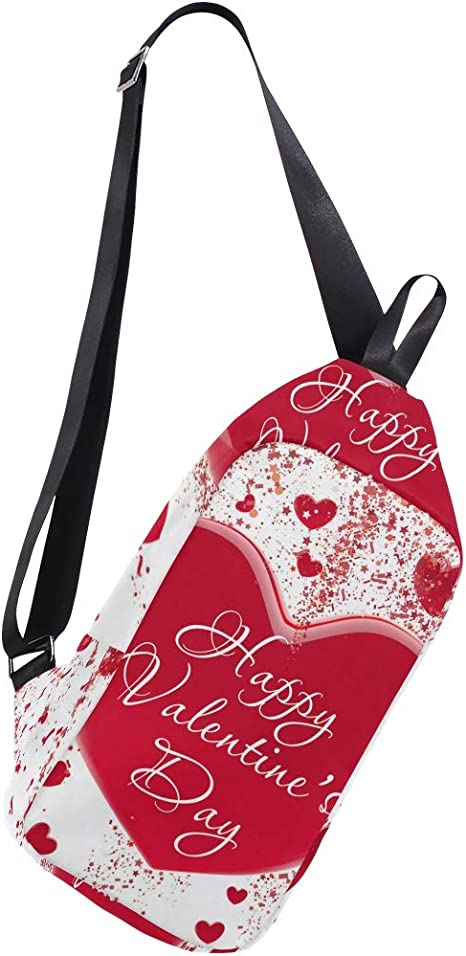AHOMY And Red Love Heart Messenger Bag Small Travel School Sling Bag Crossbody Bag