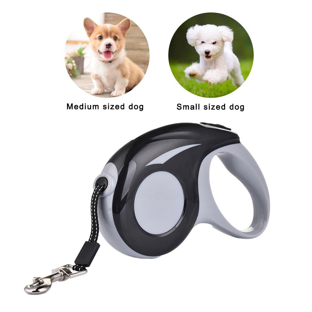 Sue Supply non si attorciglia media e grande guinzaglio lungo 4,9/m per cani di taglia piccola Guinzaglio avvolgibile per cane un pulsante per frenare e bloccare