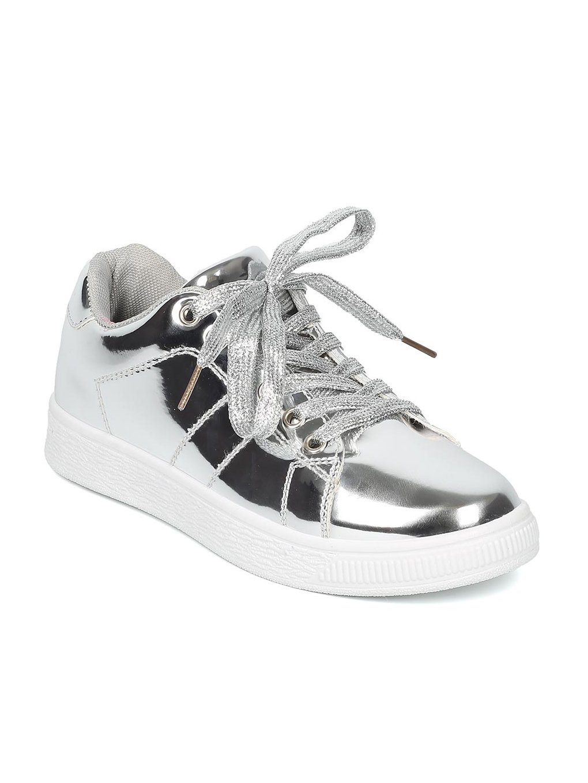 Indulge ANDI Women Mirror Metallic Lace up Low Top Sneaker HB96 B072K1ND6K 6 M US|Silver Metallic