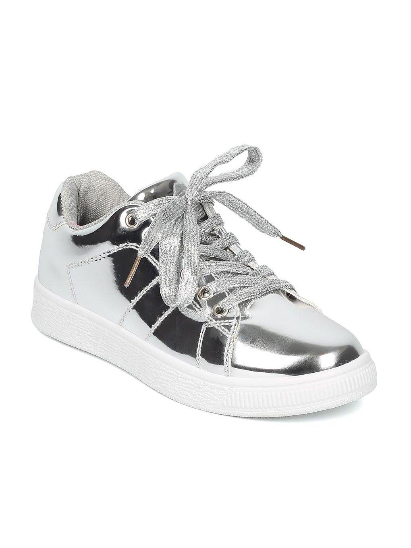 Indulge ANDI Women Mirror Metallic Lace up Low Top Sneaker HB96 B071JT769L 7 M US|Silver Metallic