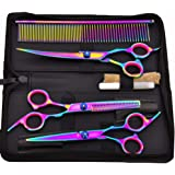 YOMYM Professional Pet Grooming Scissors Set Straight Scissors Thinning Scissors Curved Scissors Comb case Oil