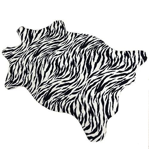 Luxbon Tierfell Kunstfell Teppich Stopp Antirutschmatte Teppichunterlage Fussmatte Treppen- Stufenmatten Bettvorleger Zebra Typ1 110x75 cm