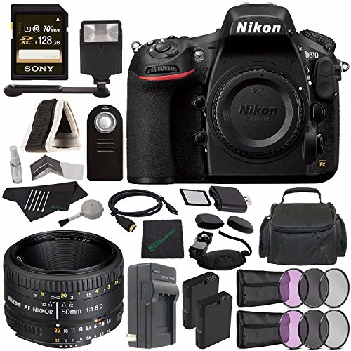 Cheap Nikon D810 DSLR Camera (Body Only) + Nikon AF NIKKOR 50mm f/1.8D Lens + Rechargable Li-Ion Battery + Charger + Sony 128GB SDXC Card + HDMI Cable + Remote + Memory Card Wallet + Flash Bundle