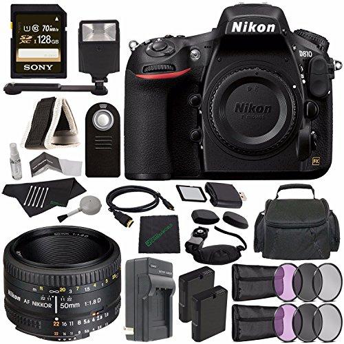 Nikon D810 DSLR Camera (Body Only) + Nikon AF NIKKOR 50mm f/1.8D Lens + Rechargable Li-Ion Battery + Charger + Sony 128GB SDXC Card + HDMI Cable + Remote + Memory Card Wallet + Flash Bundle