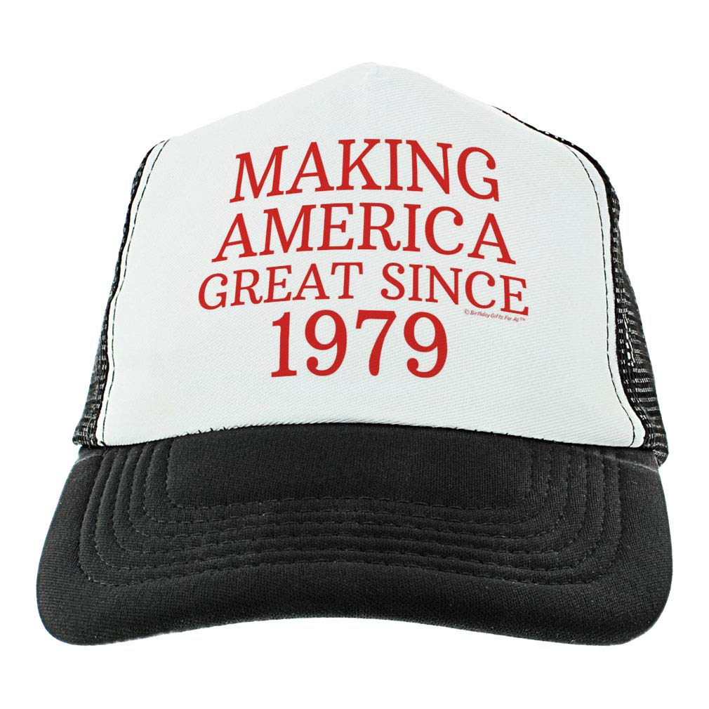 087f41ea2 ThisWear 40th Birthday Gifts Making America Great Since 1979 Conservative  Hat Political Gifts USA Trucker Hat Black at Amazon Men's Clothing store: