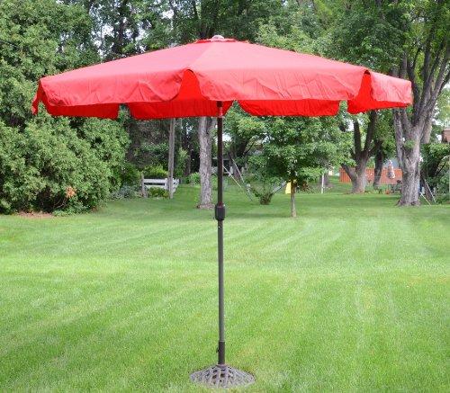 9 Foot Red Outdoor Patio Deck Market Umbrella