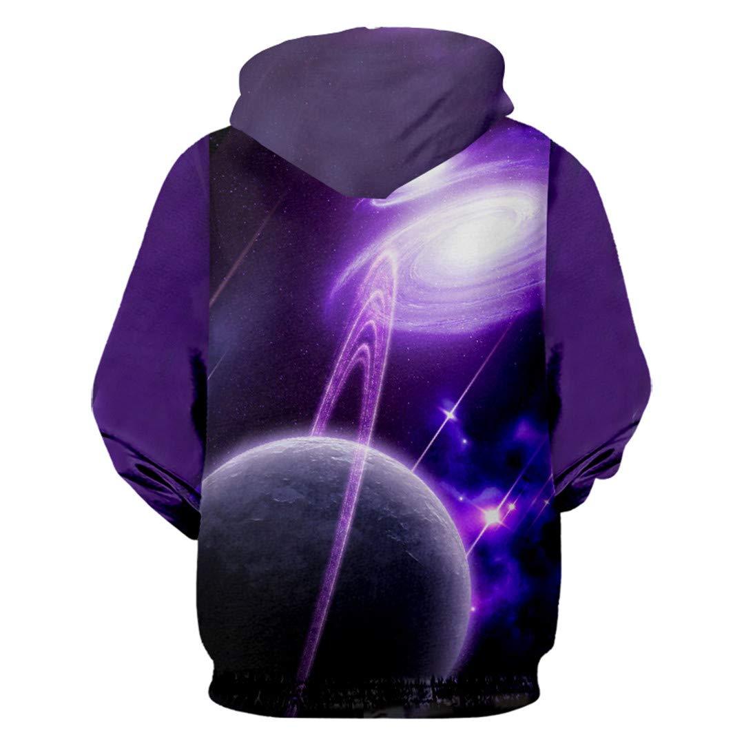 Purple Galaxy Space 3D Printed Pocket Sweatshirts Casual Hoodies Unisex Hoody
