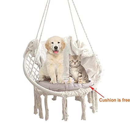 Knitted Macrame Swing Hammock Chair   Hanging Cotton Rope Macrame Hammock  Swing Chair   265 Pound